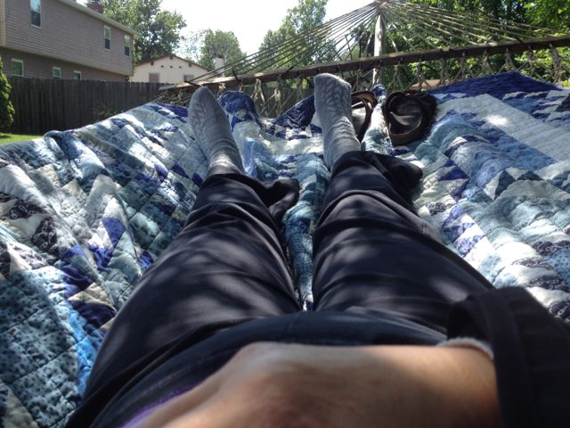 Post elbow surgery napping in the backyard.